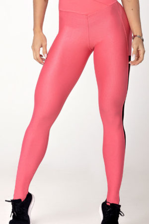 Legging Light Fitness Salmon with tulle