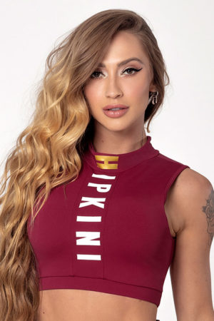 Marsala Light Fitness Top with Collar