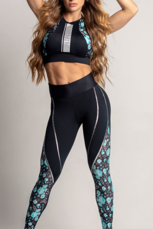 Legging Dream Fitness Black with Floral Leg