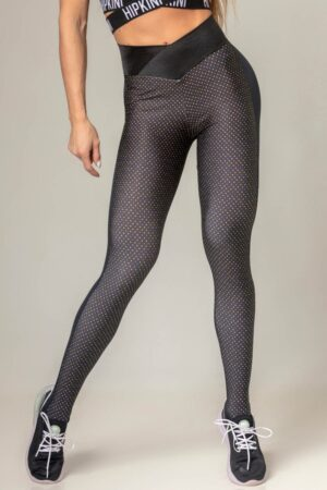 Legging Party Fitness with Polka Dot Print and Crossed Waistband