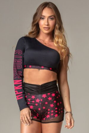 Black Party Fitness Top with Star Print
