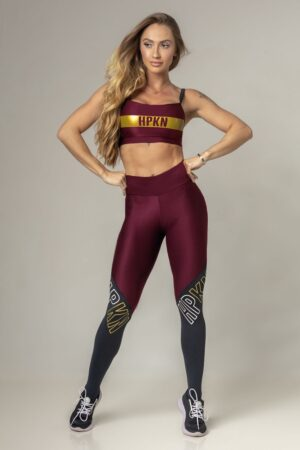 Marsala Fitness Party Top with Black Strap